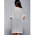 Fashionable Round Neck Striped Asymmetrical Loose-Fitting Women's Knitwear for sale