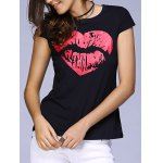 Cute Round Neck Short Sleeve Lip Print T-Shirt For Women