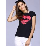 cheap Cute Round Neck Short Sleeve Lip Print T-Shirt For Women