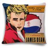 Classic Pop Art James Dean Photo Letter Pattern Pillowcase