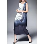 Double Layer Ink Painting Tank Dress for sale