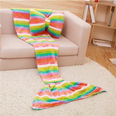 trendy-colorful-rainbow-stripes-pattern-mermaid-tail-style-casual-soft-blanket