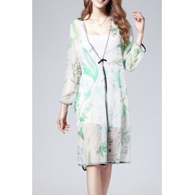 Cami Dress and Printed Blouse Twinset