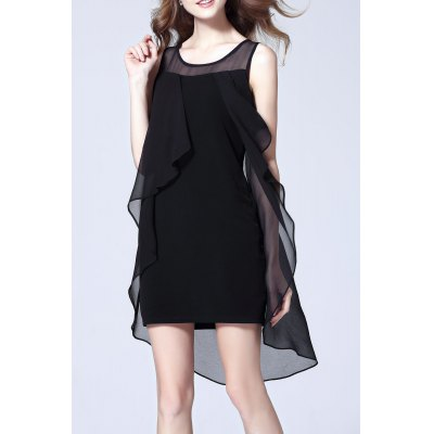 Asymmetric Mesh Splicing Dress