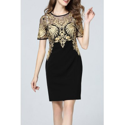 Gold Threaded Embroidered Dress