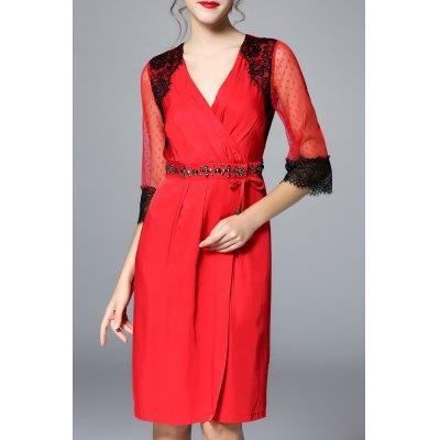 Stud Embellished Ruched See Through Dress