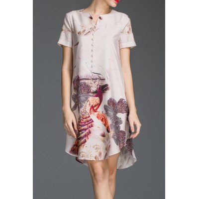 Peacock Print Asymmetric Button Design Dress