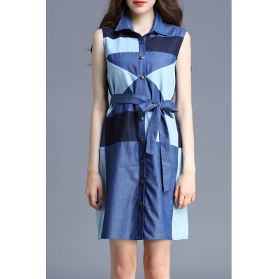 Color Block Polo Collar Sleeveless Dress
