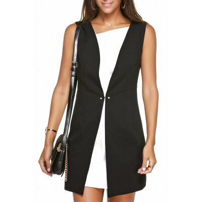 Hit Color Zippered Faux Twinset Dress