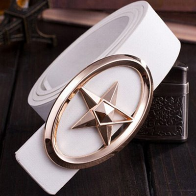 Golden Five-Pointed Star and Cut Out Oval Shape Embellished PU White Belt For Men