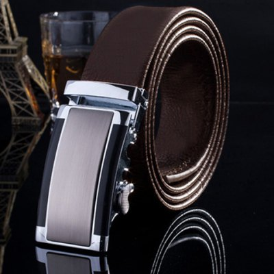 Smooth Rectangle Inlay Automatic Buckle Formal Occasion Belt For Men