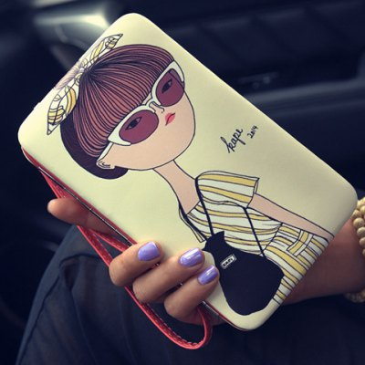 Stylish Cartoon Print and Metal Design Wallet For Women