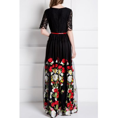flower-embroidery-lace-spliced-dress