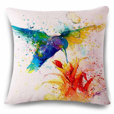 Hummingbird Watercolor Painting Design Pillowcase
