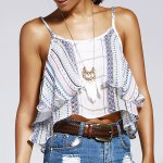 Sweet Wave Printing Condole Belt Small Top For Woman photo