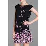 Boat Neck Floral Print Silk Dress deal