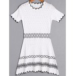 Fashion Short Sleeve Zig Zag Hollow Out Dress For Women
