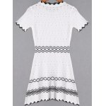 Fashion Short Sleeve Zig Zag Hollow Out Dress For Women photo