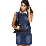 Button Detail Frayed Hem Denim Dress deal