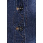 Button Detail Frayed Hem Denim Dress photo