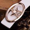 cheap Stylish Golden Five-Pointed Star and Cut Out Oval Shape Embellished PU White Belt For Men