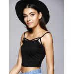 cheap Trendy Spaghetti Strap Hollow Out Backless Crop Top