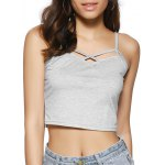 Buy Trendy Spaghetti Strap Hollow Backless Crop Top XL LIGHT GRAY