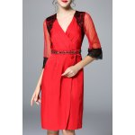 Lace Embellished Ruched See Through Dress