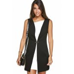 Hit Color Zippered Faux Twinset Dress deal