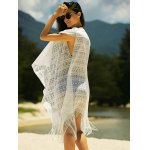 Stylish Women's See-Through Crochet Fringed Cover-Up for sale