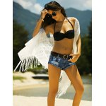 cheap Stylish Women's See-Through Crochet Fringed Cover-Up