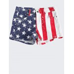 Fashionable Washed American Flag Printing Denim Shorts For Women