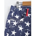 Fashionable Washed American Flag Printing Jean Shorts deal