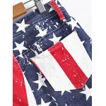 Fashionable Washed American Flag Printing Jean Shorts for sale
