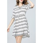 Striped Bow Collar Dress deal