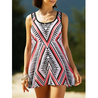 Stylish U Neck Sleeveless Geometric Print Women's Dress