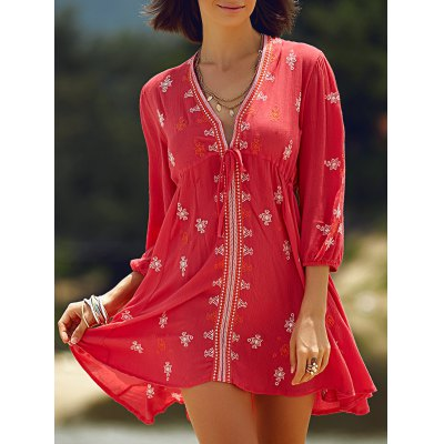 Plunging Neck 3/4 Sleeve Retro Embroidery Dress