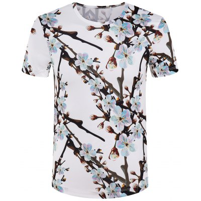 Round Collar Branch Printed T-Shirt For Men