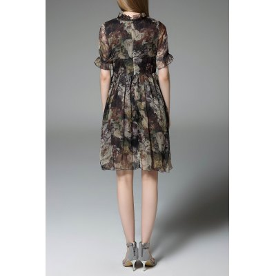 Chiffon Floral Swing DressDesigner Dresses<br>Chiffon Floral Swing Dress<br><br>Style: Vintage<br>Occasion: Causal,Day<br>Material: Polyester<br>Fabric Type: Chiffon<br>Composition: 100% Polyester<br>Neckline: Ruffled<br>Silhouette: A-Line<br>Dresses Length: Mini<br>Sleeve Length: Short Sleeves<br>Pattern Type: Floral<br>With Belt: No<br>Season: Summer<br>Weight: 0.470kg<br>Package Contents: 1 x Dress