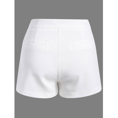 Stylish Solid Color Zipper Fly Shorts For Women