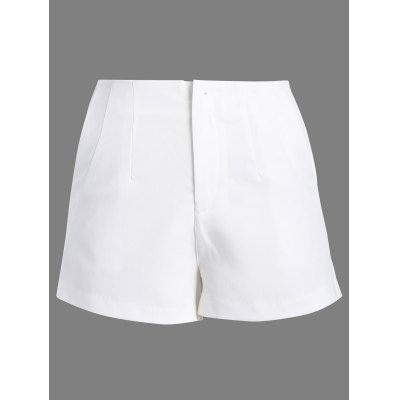 Solid Color Zipper Fly Shorts For Women