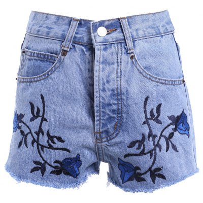 High Waist Raw Edged Floral Embellished Denim Shorts For Women