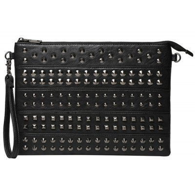 Fashion Rivets and Black Color Design Clutch Bag For Men