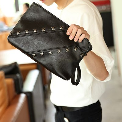 Casual Black Color and Metal Design Clutch Bag For Men