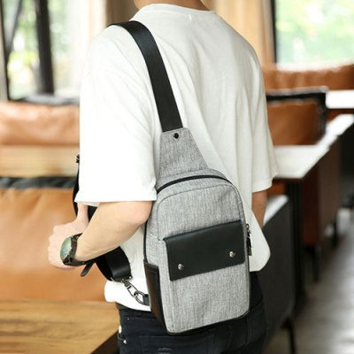 Casual Zip and Canvas Design Messenger Bag For Men