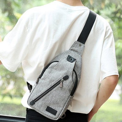 Leisure Canvas and Zip Design Messenger Bag For Men