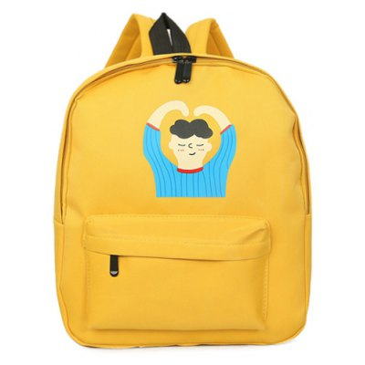 Casual Zipper and Person Pattern Men's Backpack For Men