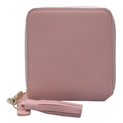 Simple Solid Color and Tassel Design Small Wallet For Women