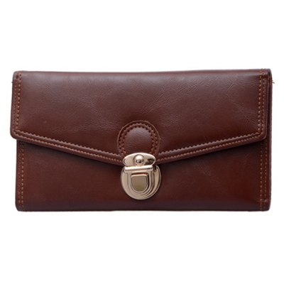 Retro Push Lock and PU Leather Design Wallet For Women