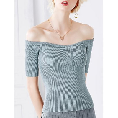 Stylish Off The Shoulder Short Sleeve Knitwear For Women